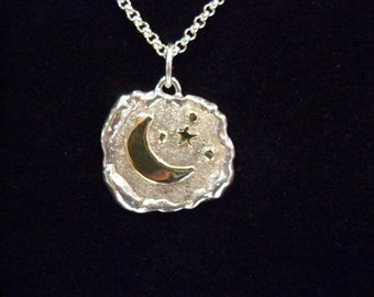 Pendant Moon, Stars, night sky, 925 sterling silver, 585 gold, melted