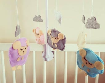 Felt/Glitter Sleepy Sheep Mobile, Handmade, Nursery Decor