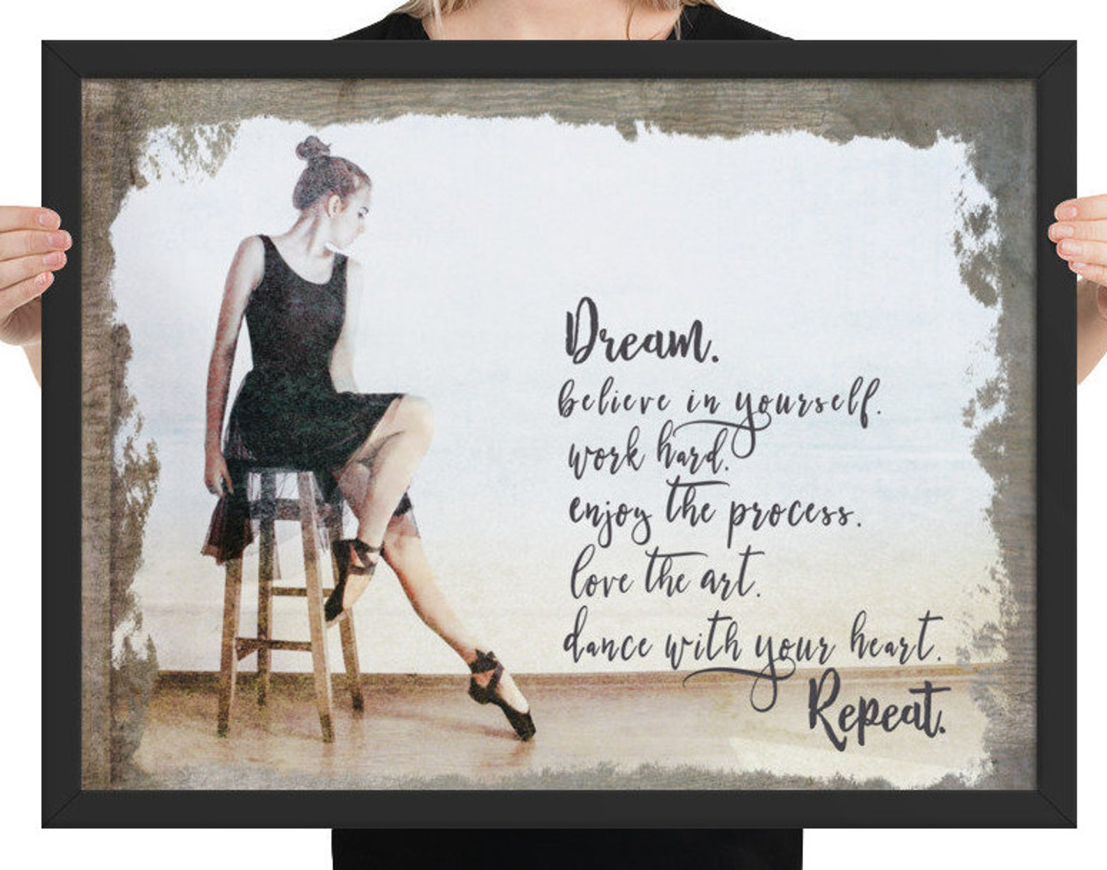 poster ballet quote print. framed with vintage, rustic vibe. perfect gift for dancer. wall art for loves to dance. print for dan