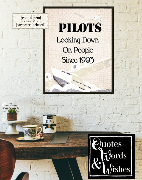 Pilots Airplane Framed Funny Quote Loves To Fly Pilot 1903 Vintage Airplance Humorous Humorous Quote Office Wall Art Home Depot