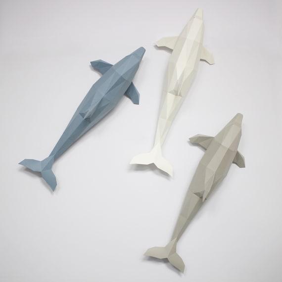 Innen Papercraft Dolphin B Metallring DIY | Etsy