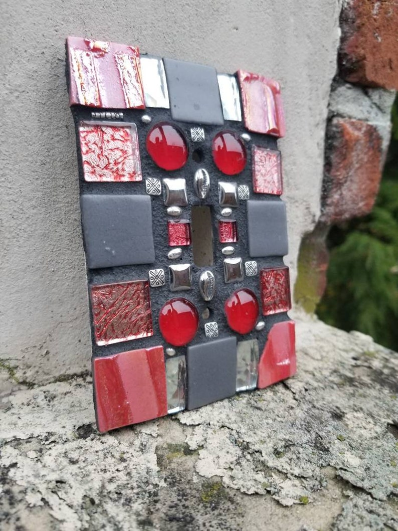 Wall Plate Cherries in the Rough Outlet Cover Mosaic Handcrafted Light Switch Art