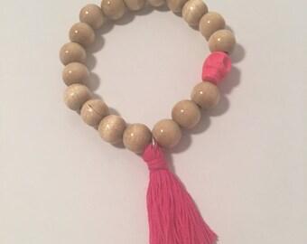 Tassel bracelet, skull and wooden beads