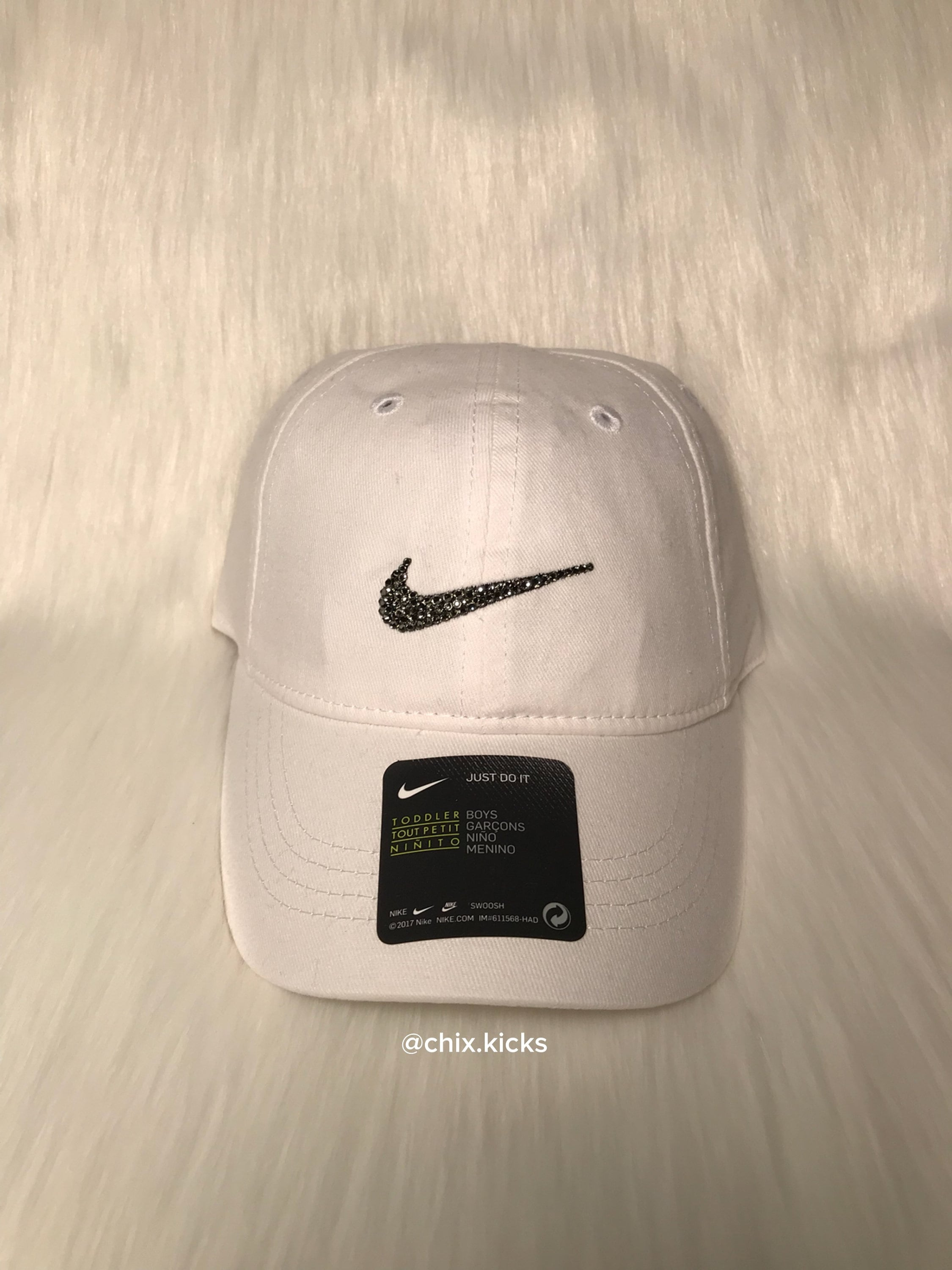204fb514f6b40 ... cheap 12 24m toddler bling nike adjustable hat white made with etsy  db0eb 9a5d3