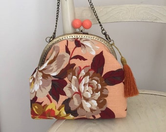 Handmade evening bag from vintage inspired apricot floral barkcloth fabric