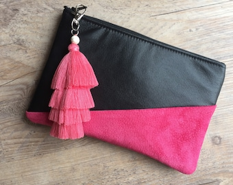 Retro 1980's style handmade from upcycled black leather and pink suede clutch purse