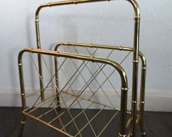 Brass magazine hollywood regency faux bamboo style magazine stand