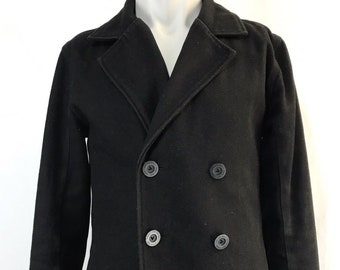 VTG Classic Peacoat Large Black Jacket vans off the wall pea coat vintage style