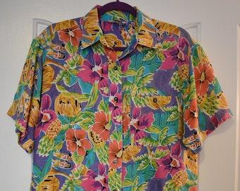59f562a0 Vintage Silk Hawaiian Button Down Shirt