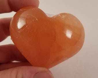 Peach Selenite Heart Crystal Meditation Protection Stone