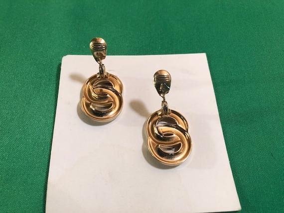 Vintage Monet Double Ring/Circle Stud Clip Gold T… - image 6