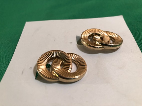 Vintage Monet Double Ring/Circle Stud Clip Gold T… - image 2