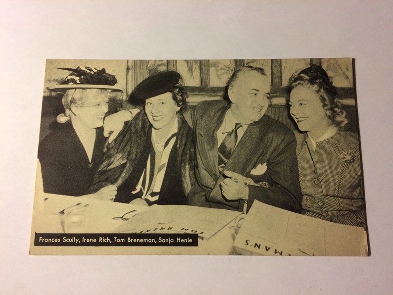 Vintage Frances Scully Irene Rich,Tom Breneman,Sonja Henie Breakfast Hollywood Postcard,Unposted,Hollywood Celebrities Postcard