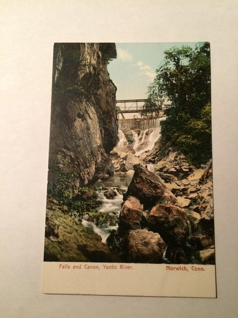 Vintage Falls And Canon Yantic River Norwich Connecticut Postcard,Unposted,Connecticut Postcard
