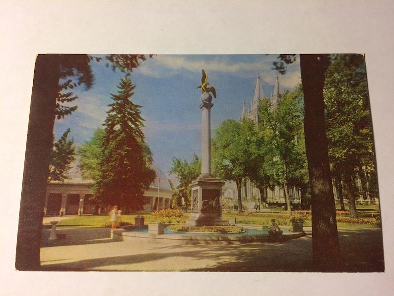 Vintage Sea Gull Monument Temple Square Salt Lake City Utah Postcard,Unposted,Utah Postcard