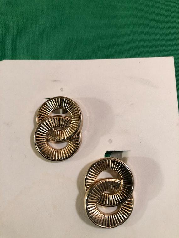 Vintage Monet Double Ring/Circle Stud Clip Gold T… - image 1