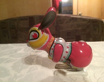 Vintage Wind Up Tin Bunny