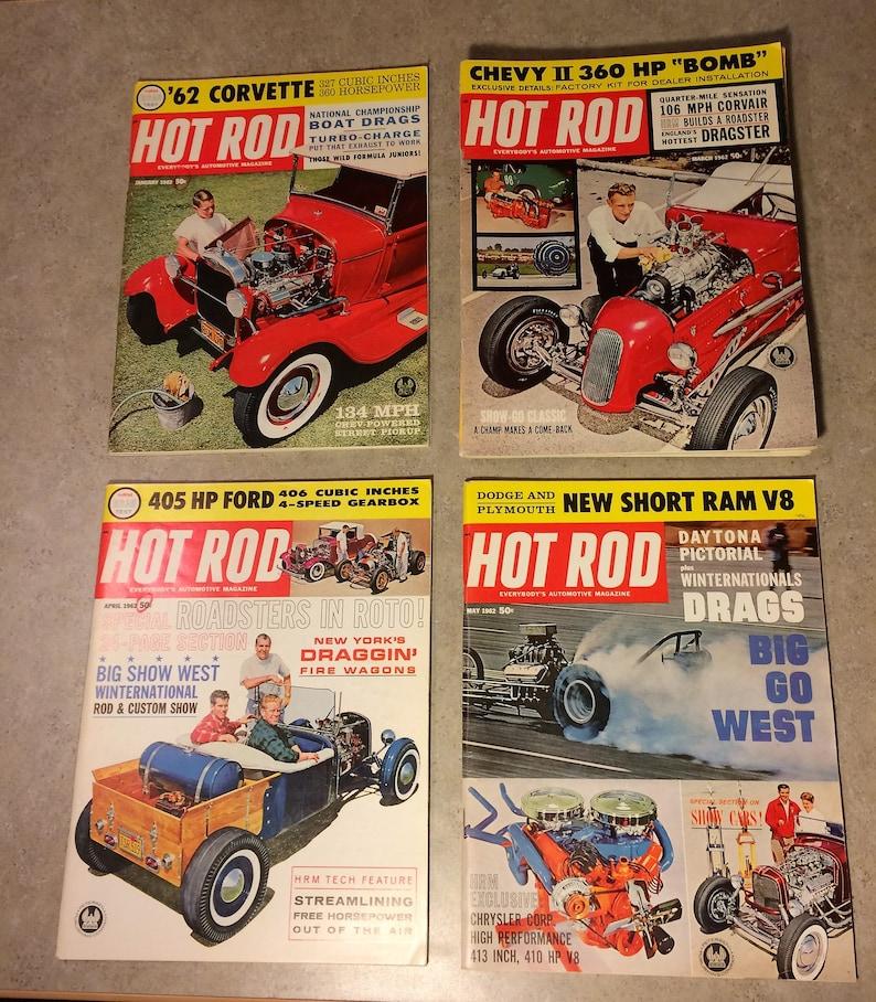 Vintage Hot Rod Magazines Set 8 Total Circa 1962