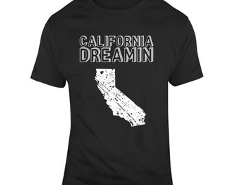 California Dreamin State Silhouette Distressed  T Shirt