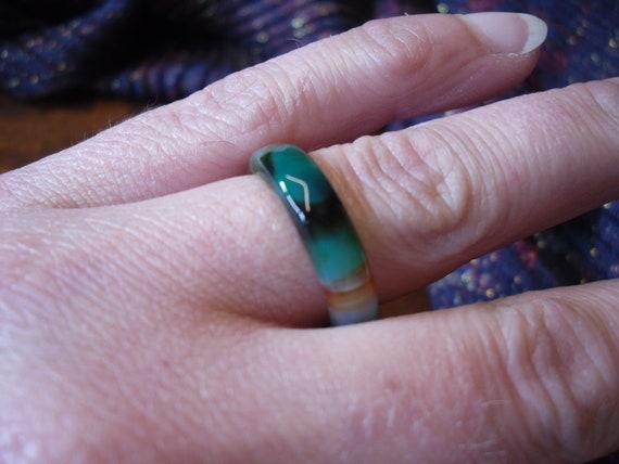 UK size O Natural Gemstone Black Green Orange AGATE Band Ring USA size 7 Gift Gothic Tribal Boho Women/'s Alternative Stone Band Ring