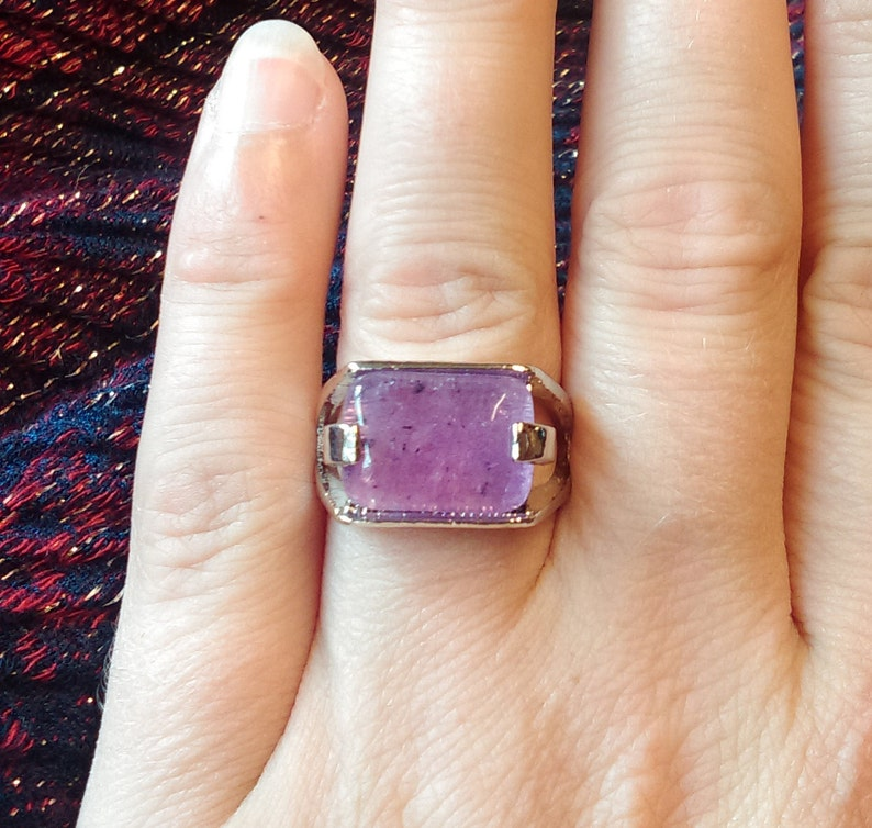 Women/'s Boho Silver Plated Natural Pink AMETHYST Gemstone Crystal Stone Ring Boho Silver Pink Stone Ring Gift USA size 6.5 UK size N