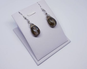 Drop earrings with glass glasswork, gray and white, gift for woman