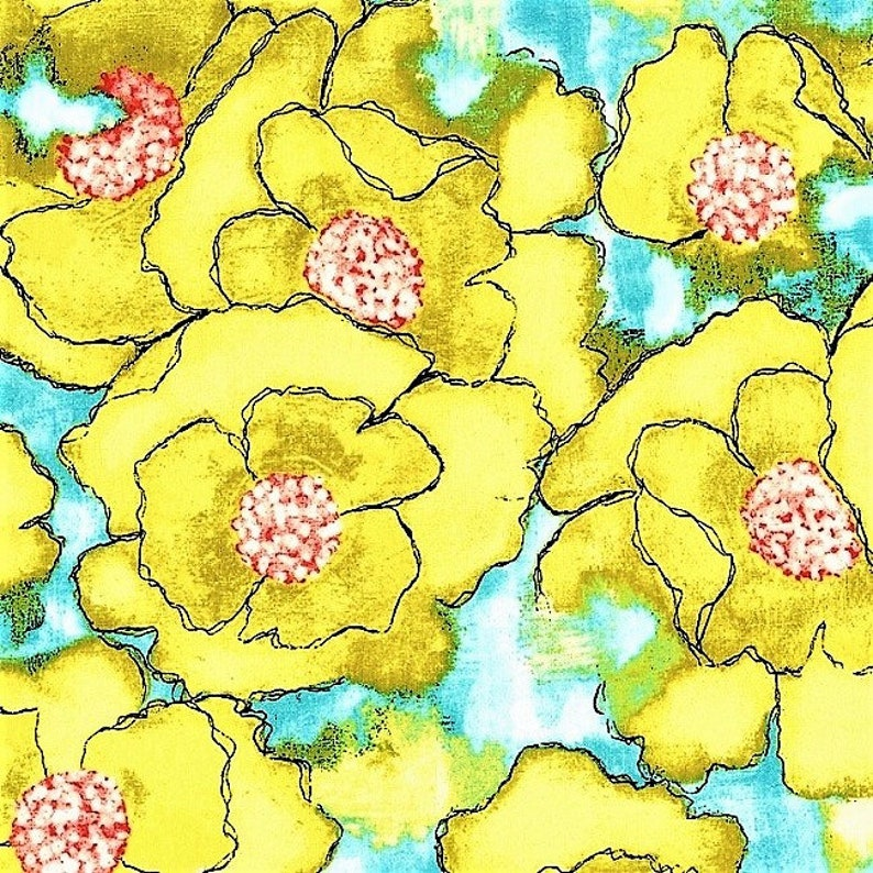 cotton fabric 12 YARD OOP Worn Poppy in Yellow from Cosmos Collection by Laura Gunn
