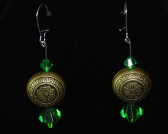 Green and Antique Gold Earrings