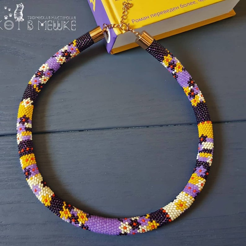 Handmade beaded crocheted knitted necklace jewellery autumn fall flower purple yellow white orange red present sale modern unisex kids adult
