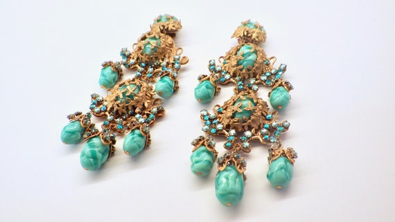 Miriam Haskell Statement Earrings; Signed Haskell