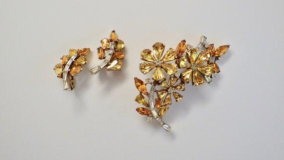 Trifari Citrine Rhinestone Pin Brooch and Earrings
