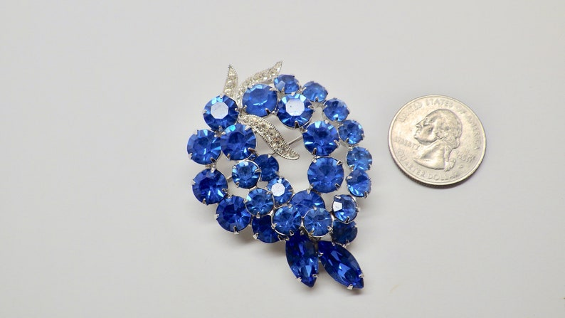 Signed Eisenberg Ice Rhinestone BroochPin; Royal Blue Eisenberg Floral Brooch; Eisenberg Double Wreath Brooch