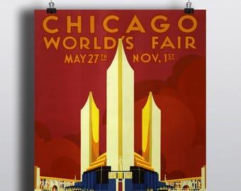 Chicago 1933 World's Fair Poster - Advertising Vintage Poster Print