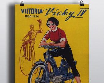 Victoria, Vicky IV - Vintage Motorcycle Poster Print