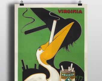 Pelican Cigarette, Virginia - Vintage Advertising Tobacco Poster Print