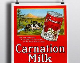 Carnation Milk, The Modern Milkman - Vintage Food Advertising Poster Print