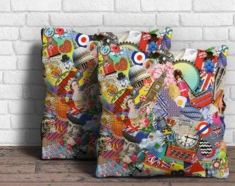 GIANT CUSHION Floor Cushion The Best of British Icons Cushion Pillow Bean Bag Large Cushion 650mm x 650mm