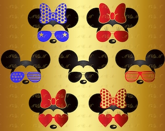 60% OFF Mouse SVG Minnie Svg Mickey Mouse Sunglasses Head Face Ears Monogram Decal Digital Silhouette Png Eps Dxf Kid Vinyl Cut File Clipart