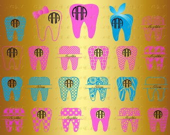 60% OFF, Tooth Svg Dentist Dental Monogram Frame Teeth Png Eps Dxf Vinyl Cut File Decal Silhouette Download Digital Clipart Baby Bow Bandana