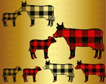 60% OFF Cow Buffalo Plaid SVG Heifer Svg Christmas Silhouette Decal Kids Farm Family Animals Digital Png Eps Dxf Vinyl Cut File Rustic Gift