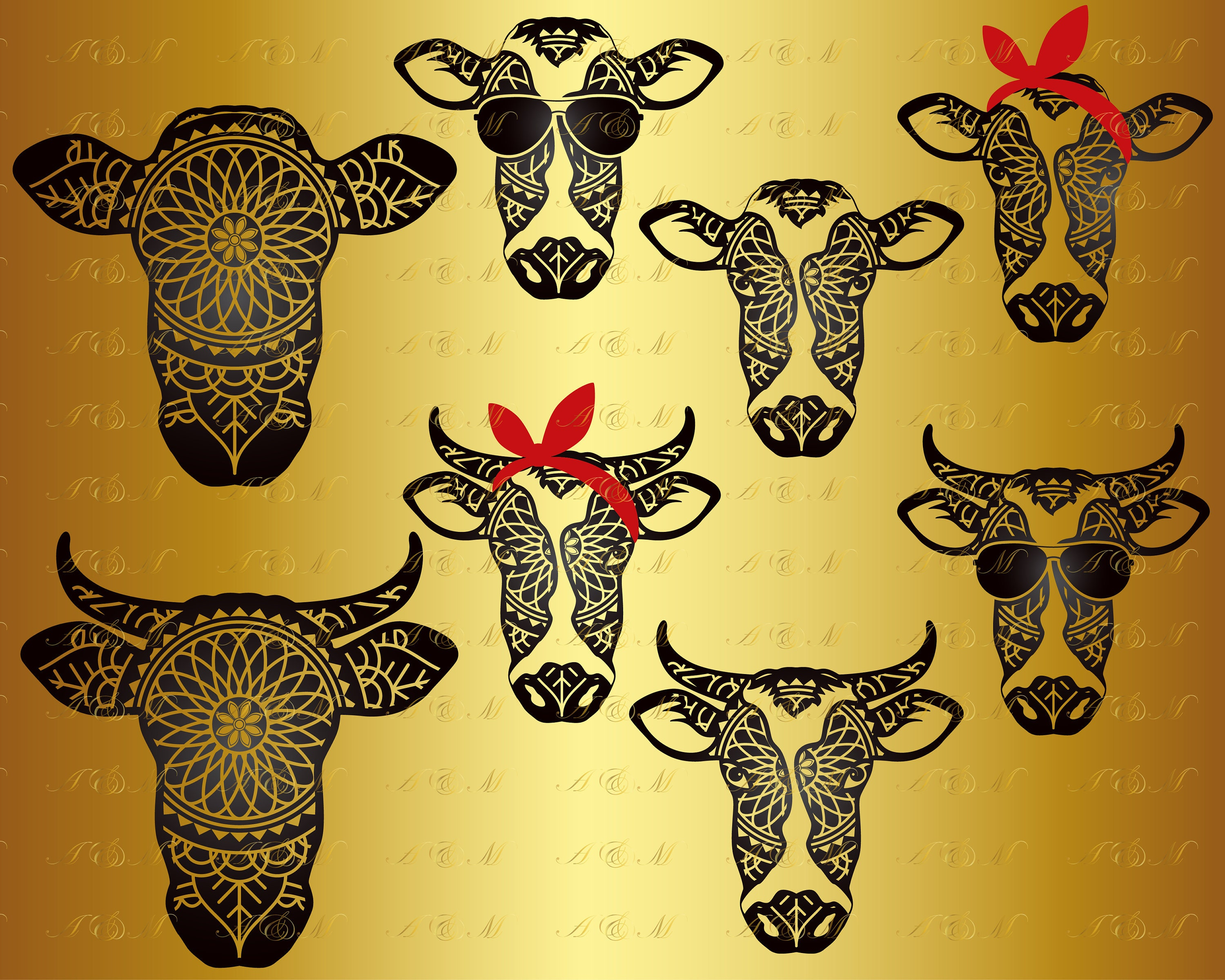 60% OFF Cow Face SVG Cow svg Farm Animal Mandala Zentangle | Etsy
