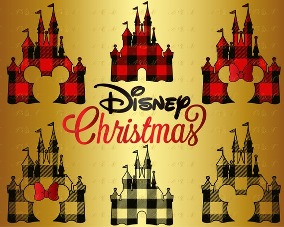 Disney Castle Christmas Svg.60 Off Disney Castle Buffalo Plaid Svg Christmas Silhouette Minnie Bow Digital Mickey Mouse Head Face Ears Decal Png Eps Dxf Vinyl Cut File