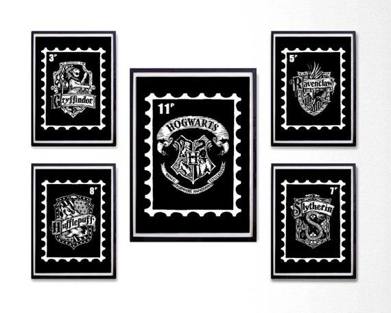 Hogwarts House Crest Print Set