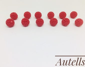 Red- 12mm Round Loose Acrylic Beads/Pearls Beads /Embellishments / Bracelet Making/Jewellery Making