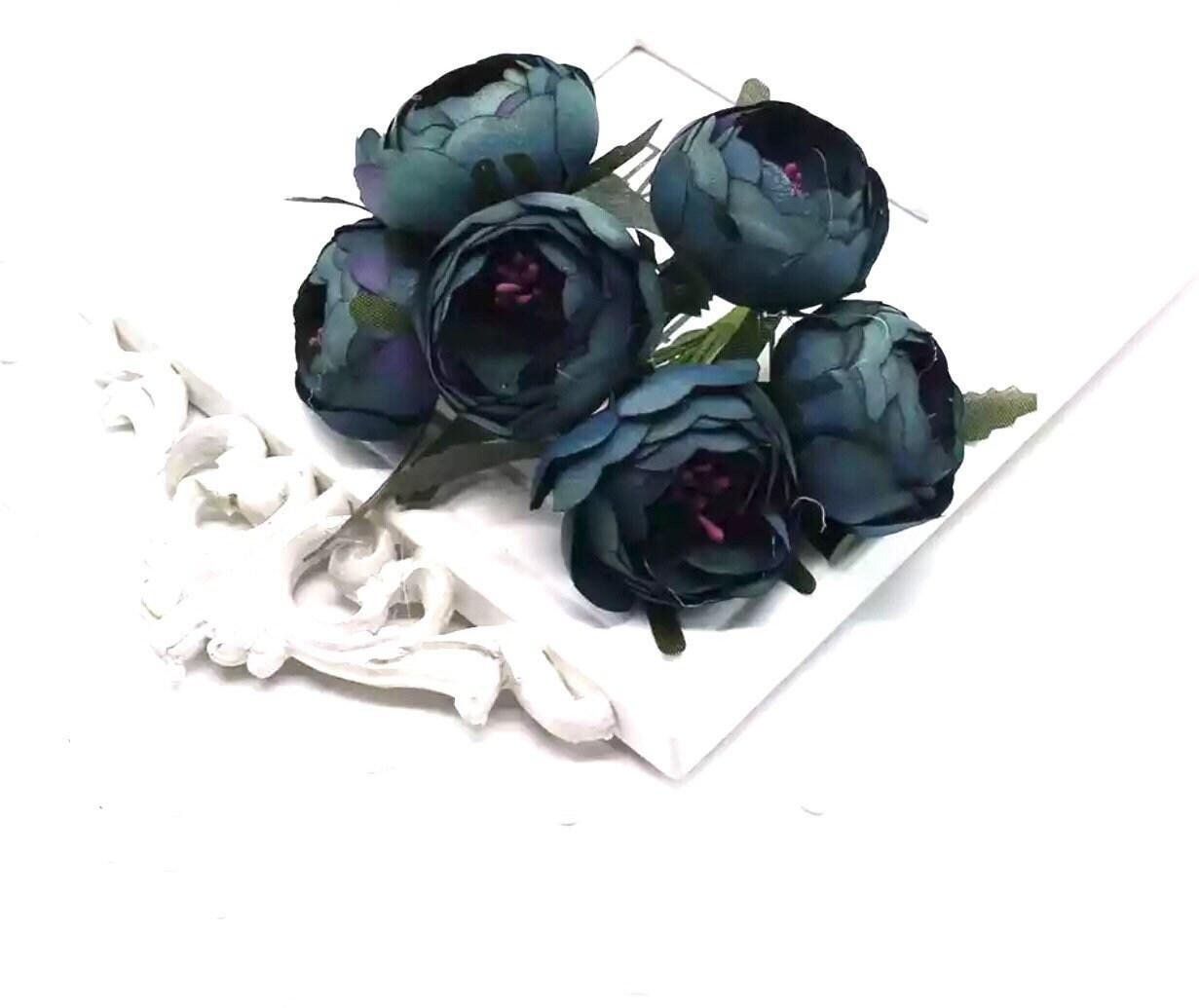 6Pcs Artificial Silk Peony Flower Heads for Wedding Hair Clip Corsage DIY Craft
