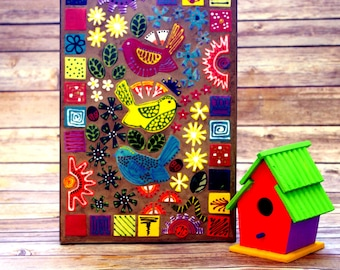 Mosaic, Wall Art, Whimsical, Handmade, One of a Kind, Colorful, Wall Decoration