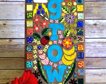 Mosaic, Wall Art, Whimsical, Handmade, One of a Kind, Colorful, Wall Decoration, Garden, Garden sign