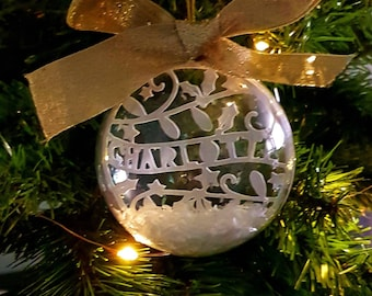 Personalised Christmas bauble with paper cut foliage c96b02df9