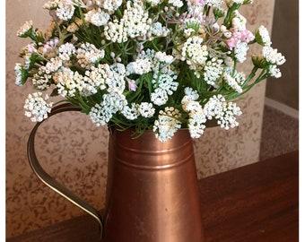 White and Pink Floral Arrangement in Copper Pitcher - Spring Flower Arrangement