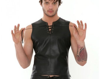 Handmade Men's Black Genuine Leather  Laced vest and short Gay clubwear